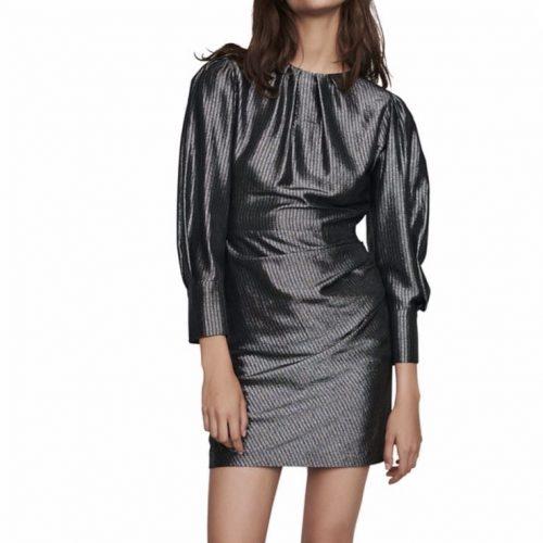 Maje Ralery Metallic Mini Dress