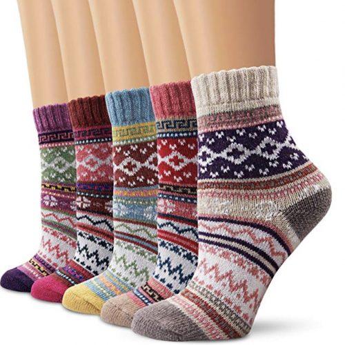 Ambielly Vintage-Style Knit Wool Socks
