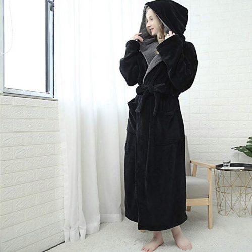 Hooded Women's Soft Spa Long Bathrobe with Shawl Collar for Comfy Sleepwear