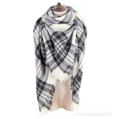 MissShorthair Women's Plaid Blanket Scarf Big Tartan Scarf with Tassel Decoration