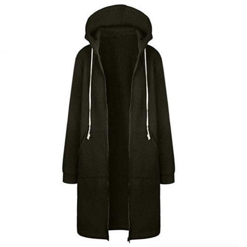 Pervobs Women Long Zippered Hoodie