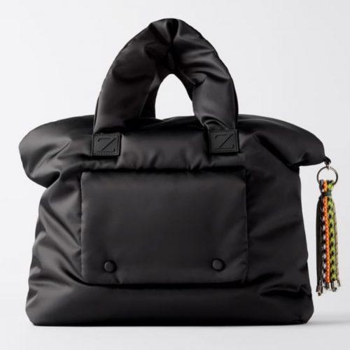 Zara Padded Nylon Shopper Bag