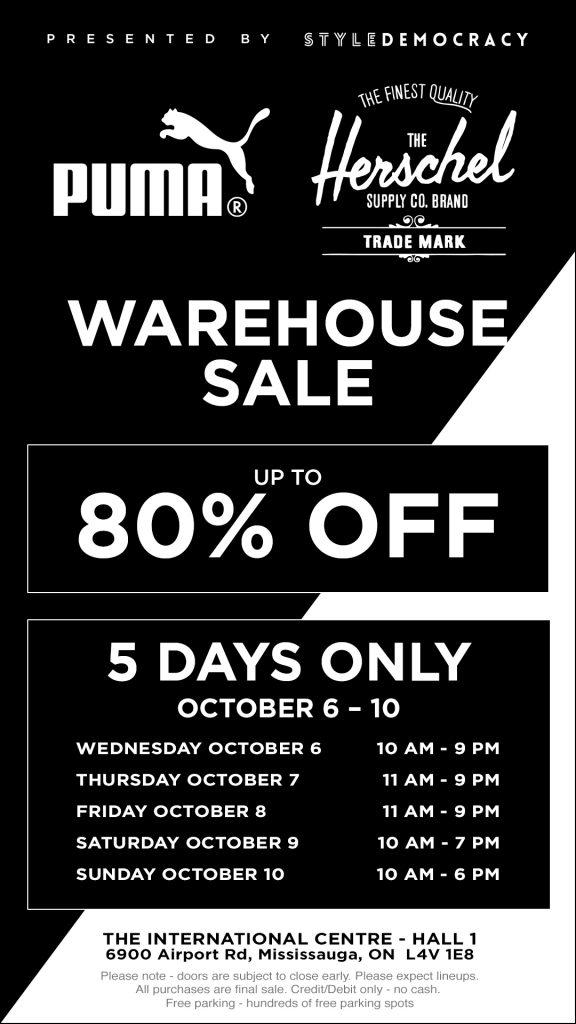 puma & herschel warehouse sale